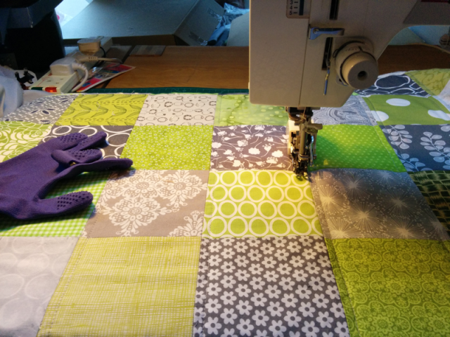 Colorful grey - green - during quilting